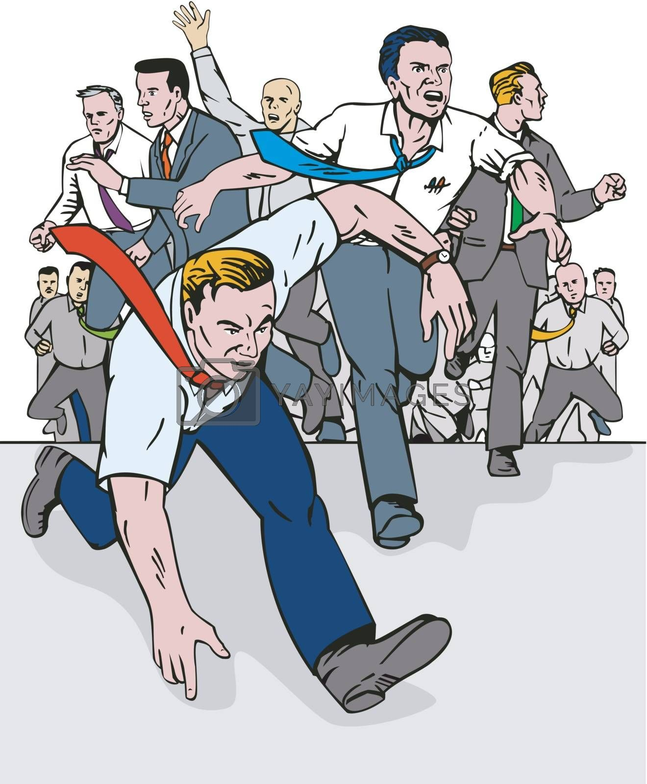 Illustration of people businessman mob running done in colour set in white background done in retro style.