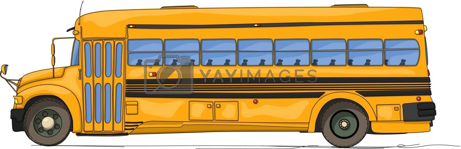 School bus cartoon against white background