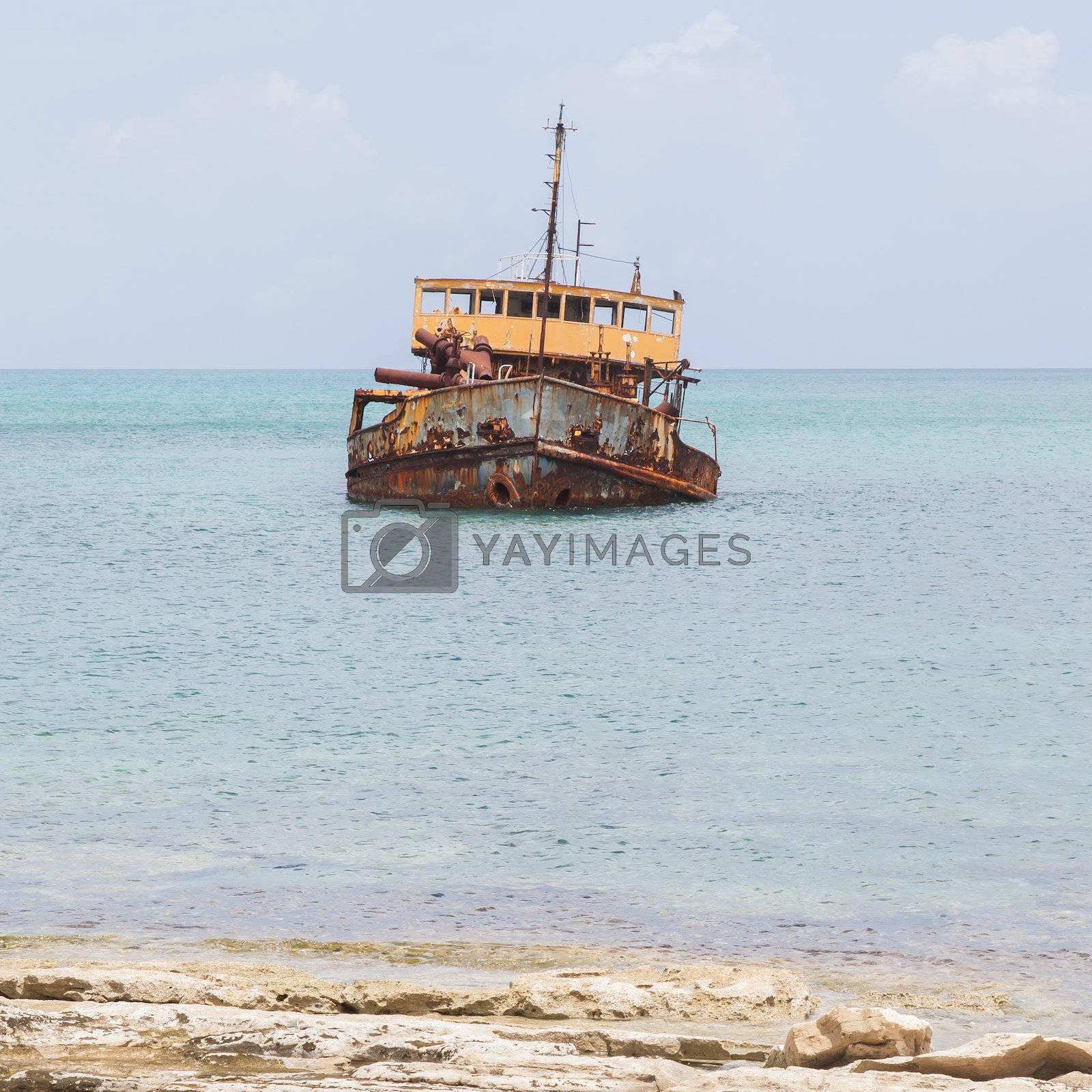 Unidentified sunken vessel at the coast of the Caribbean Isle of Saint Martin