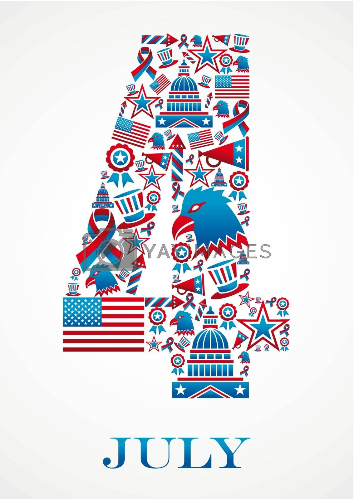 4th july independence day 4 shape illustration. Vector file layered for easy manipulation and custom coloring.