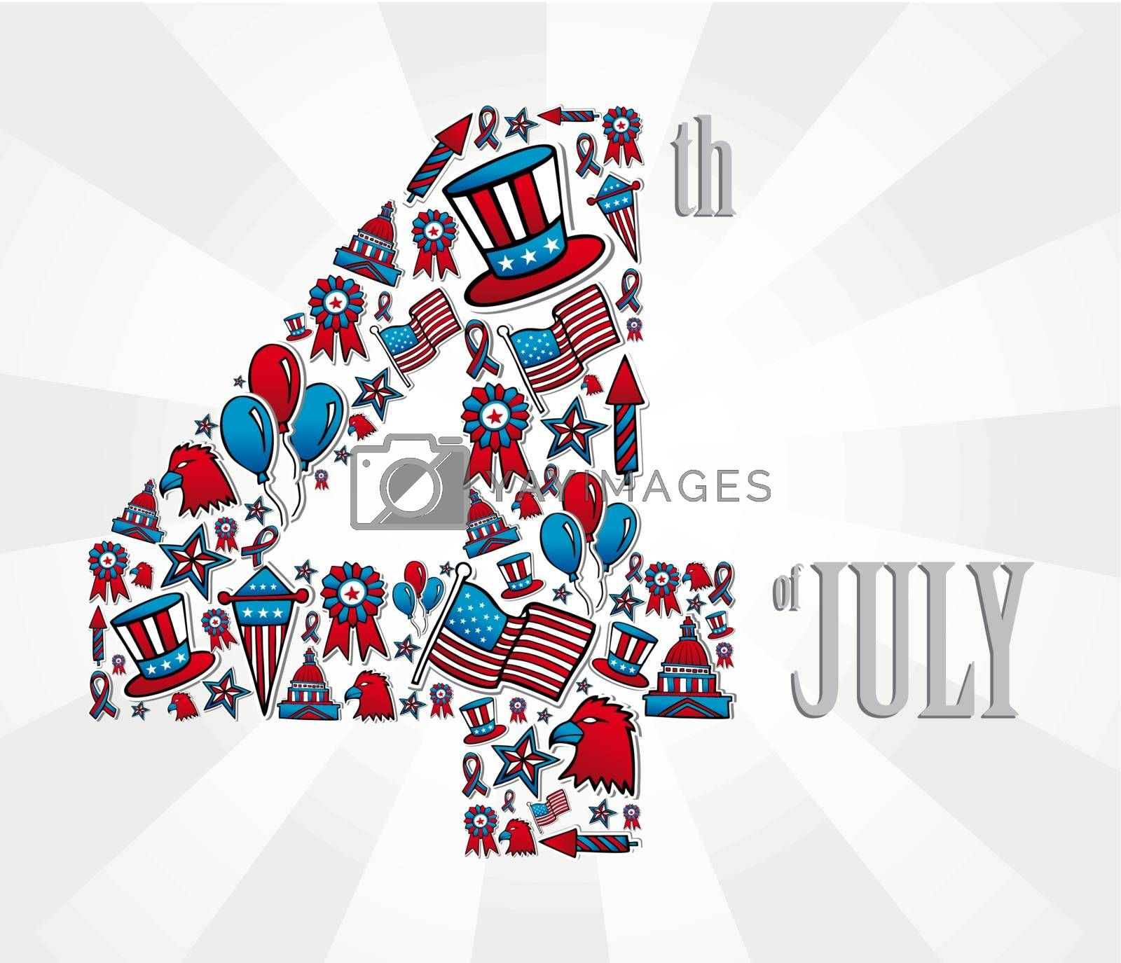 4th of july independence day illustration, white background. Vector file layered for easy manipulation and custom coloring.