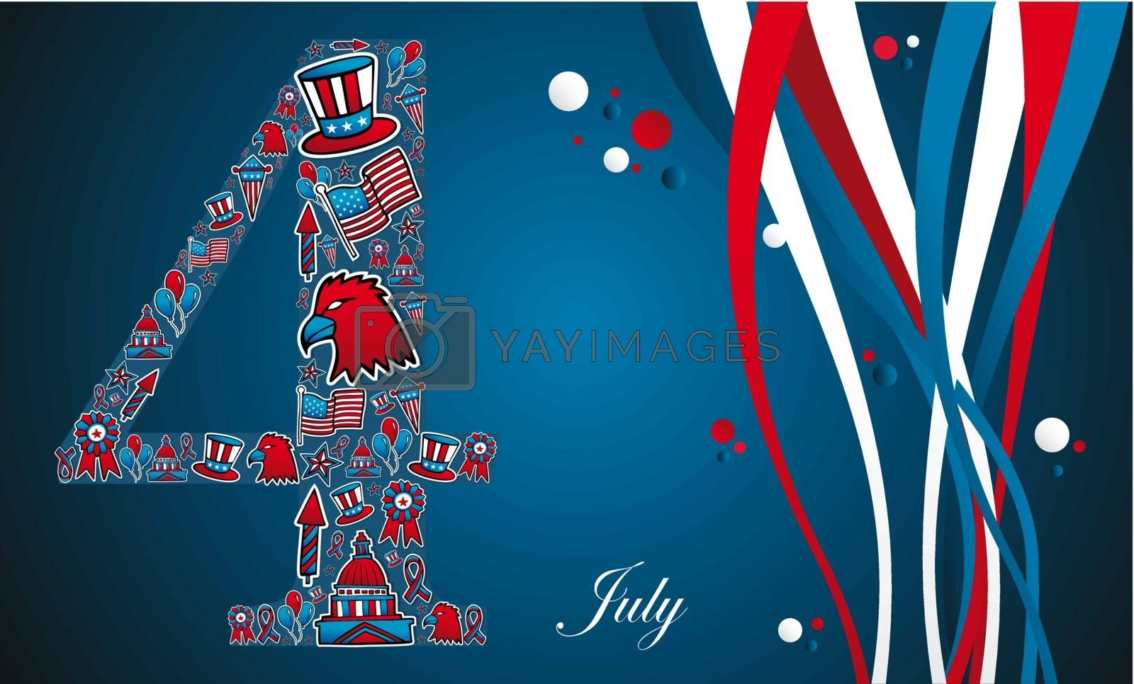4th of july independence day illustration. Vector file layered for easy manipulation and custom coloring.