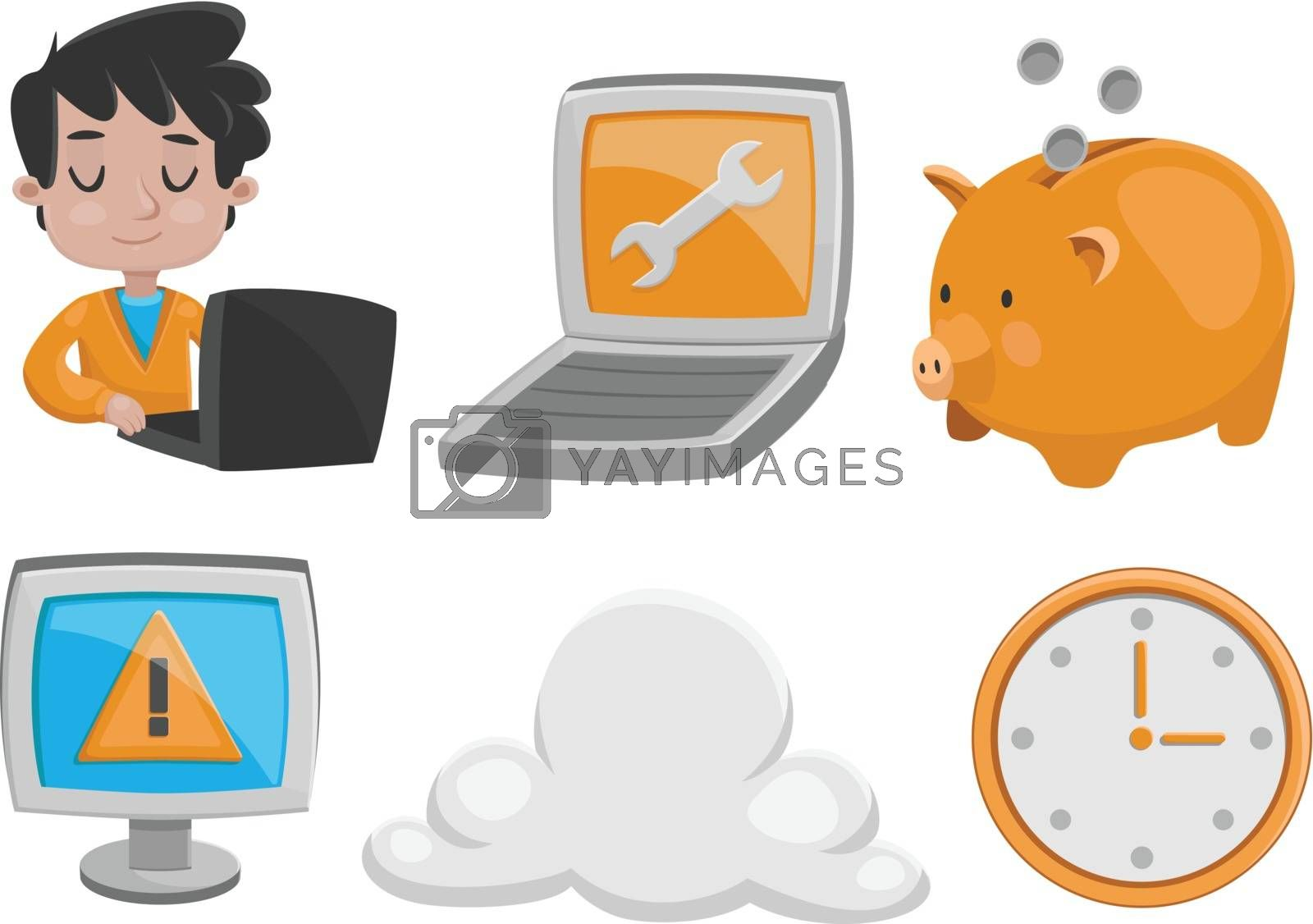 Set of vector illustrations, featuring technology.