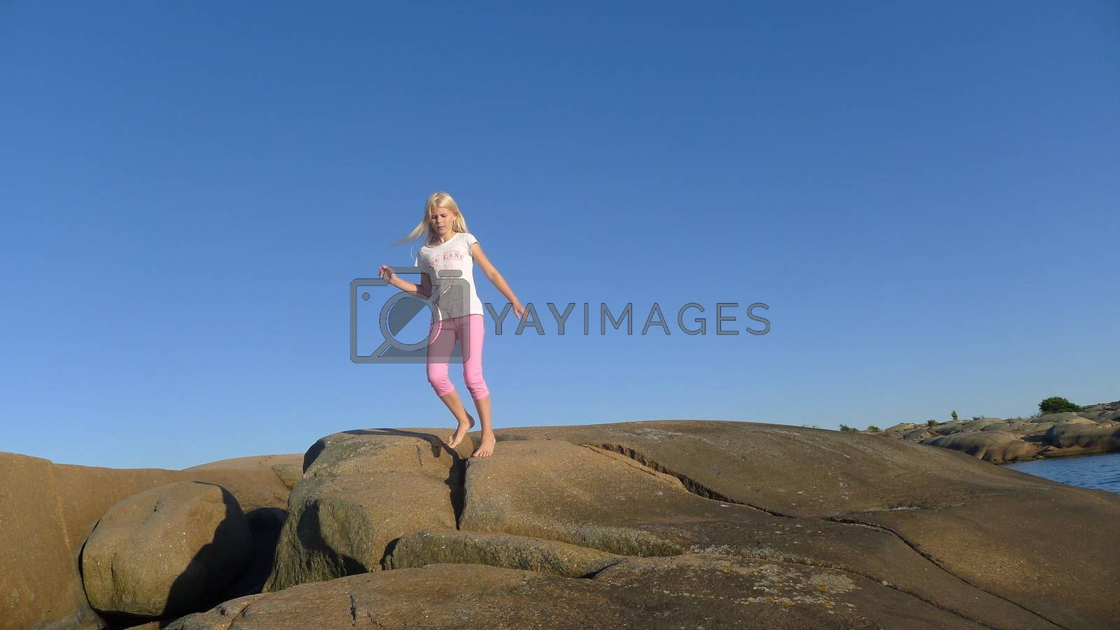 Girl on rocks