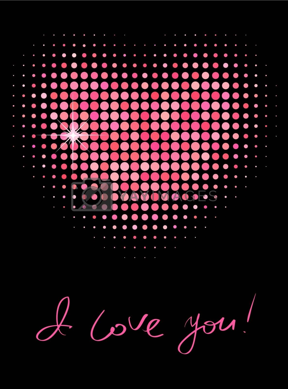 Pink color halftone heart shape by ESSL