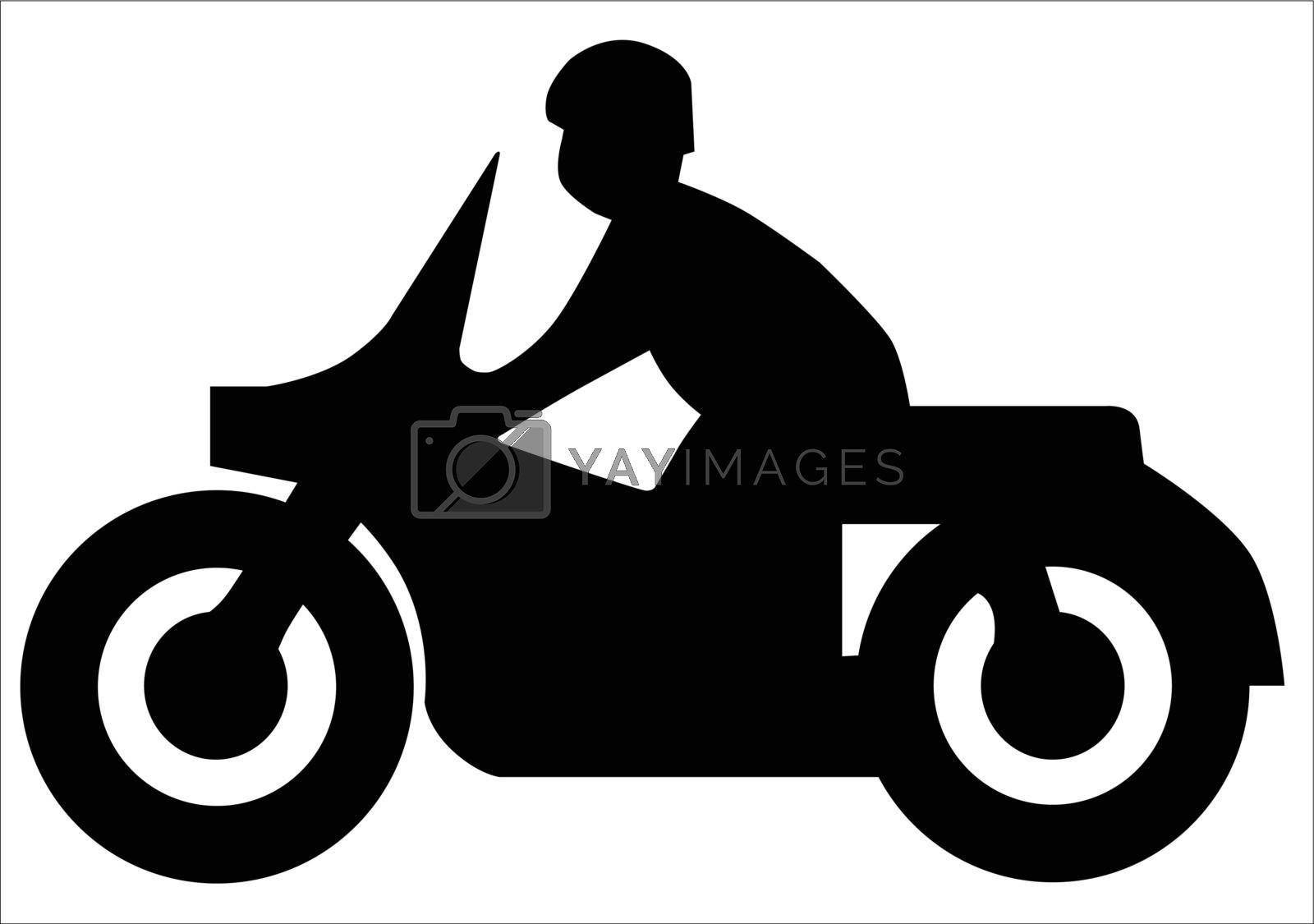Silhouette of a motorcycle and rider of the type found on traffic signs.