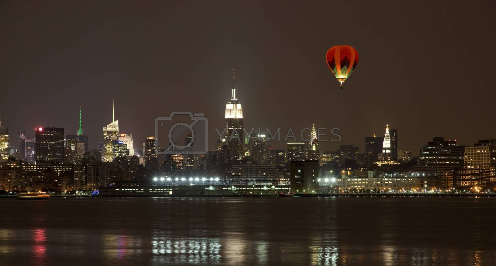 The New York City mid-town skylines at night