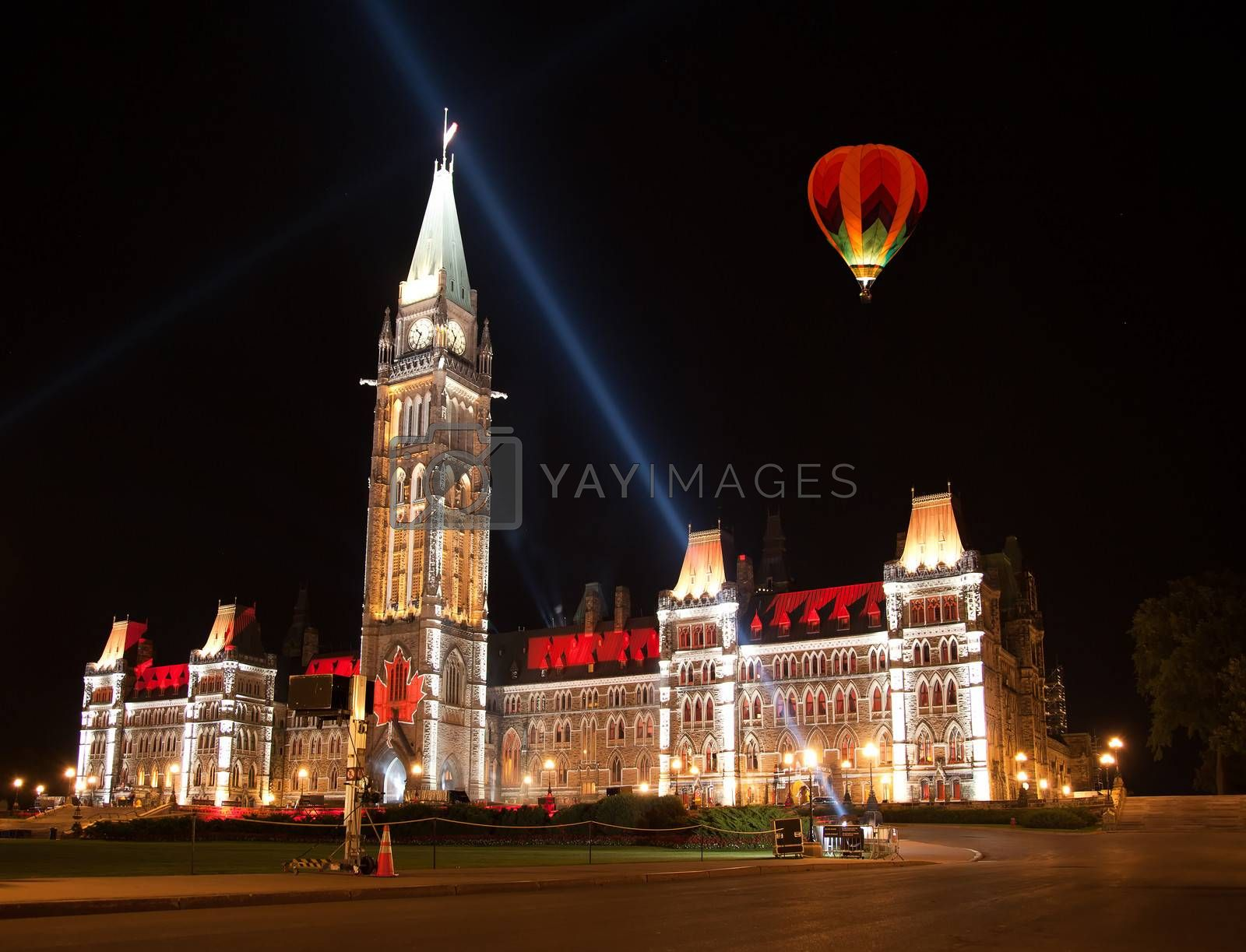 OTTAWA, CANADA ��� AUGUEST 22:  The beautiful light show projected on the parliament building to celebrate the Canada���s history and people in the summer night of August 22, 2011 in Ottawa, Canada.