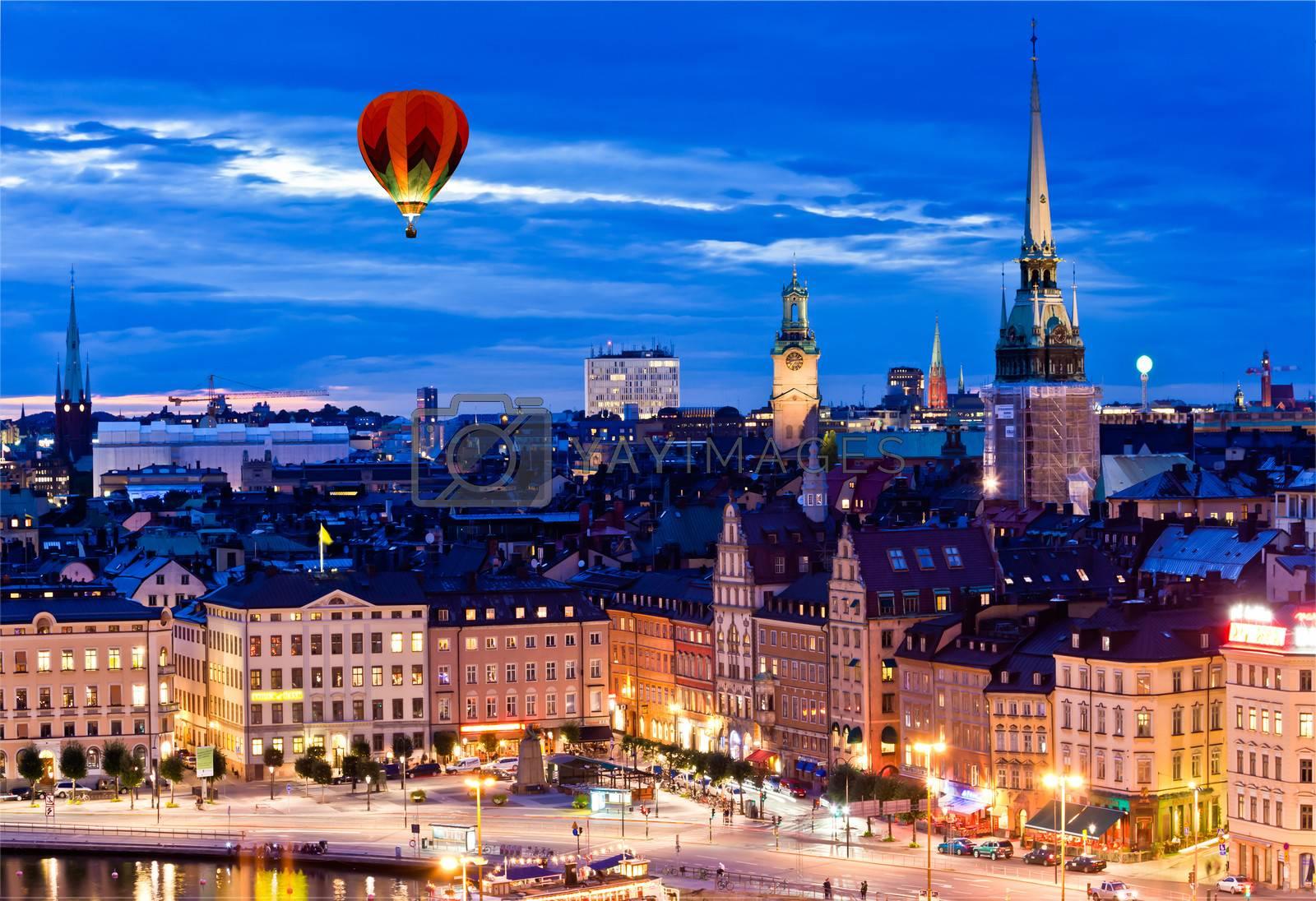 Night scene of the Stockholm City at top of Katarina elevator