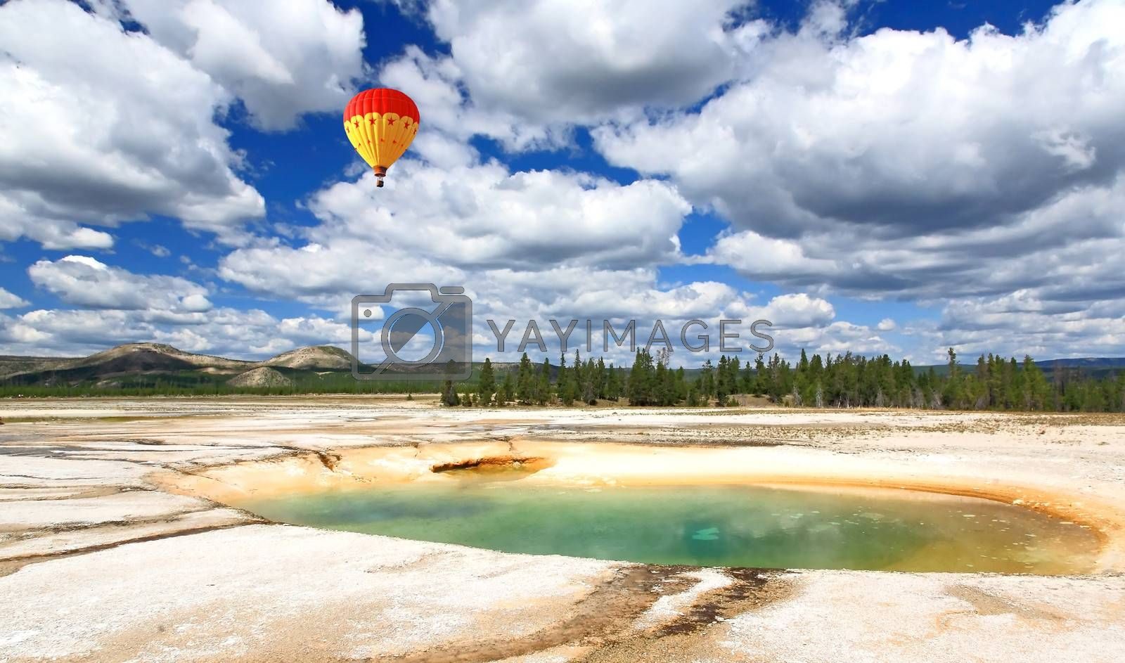 The scenery at Midway Geyser Basin in Yellowstone National Park