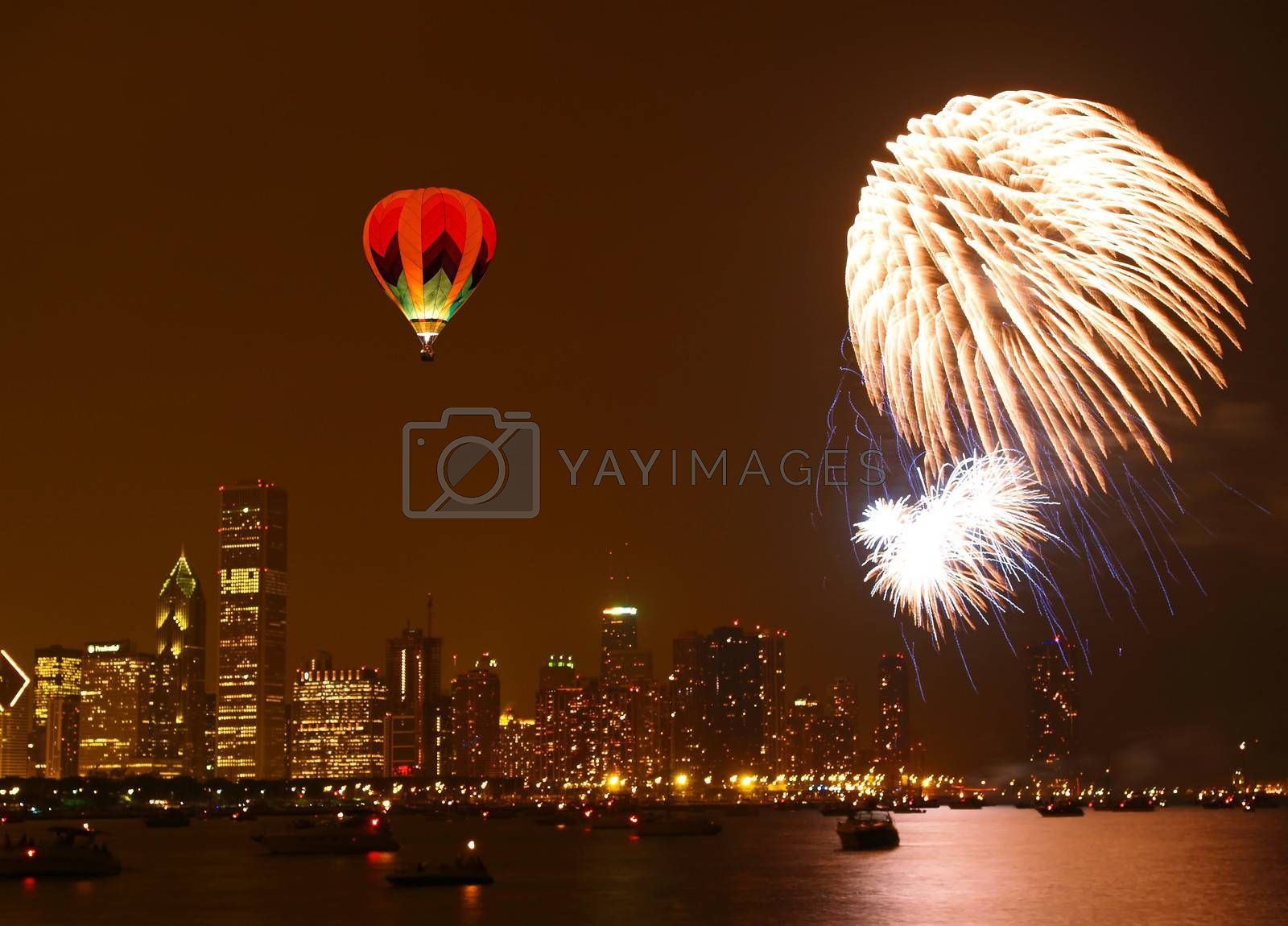 July 4th firework in chicago lake shore