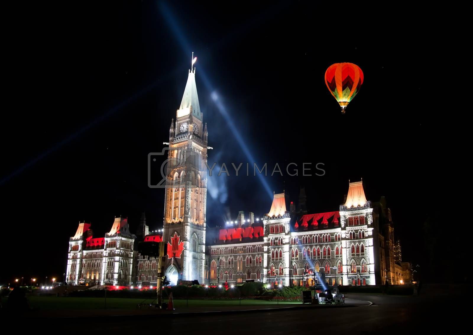 The beautiful light show projected on the parliament building