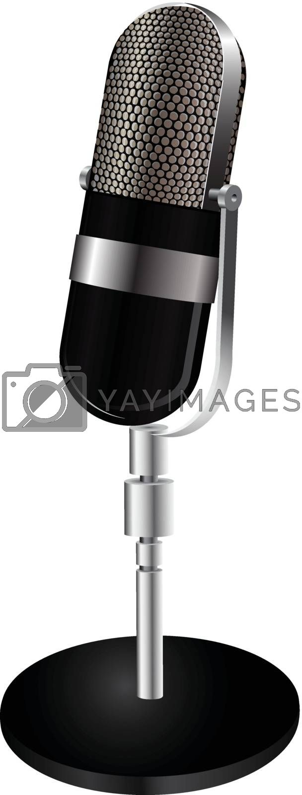 Modern microphone on a stand. Vector illustration.