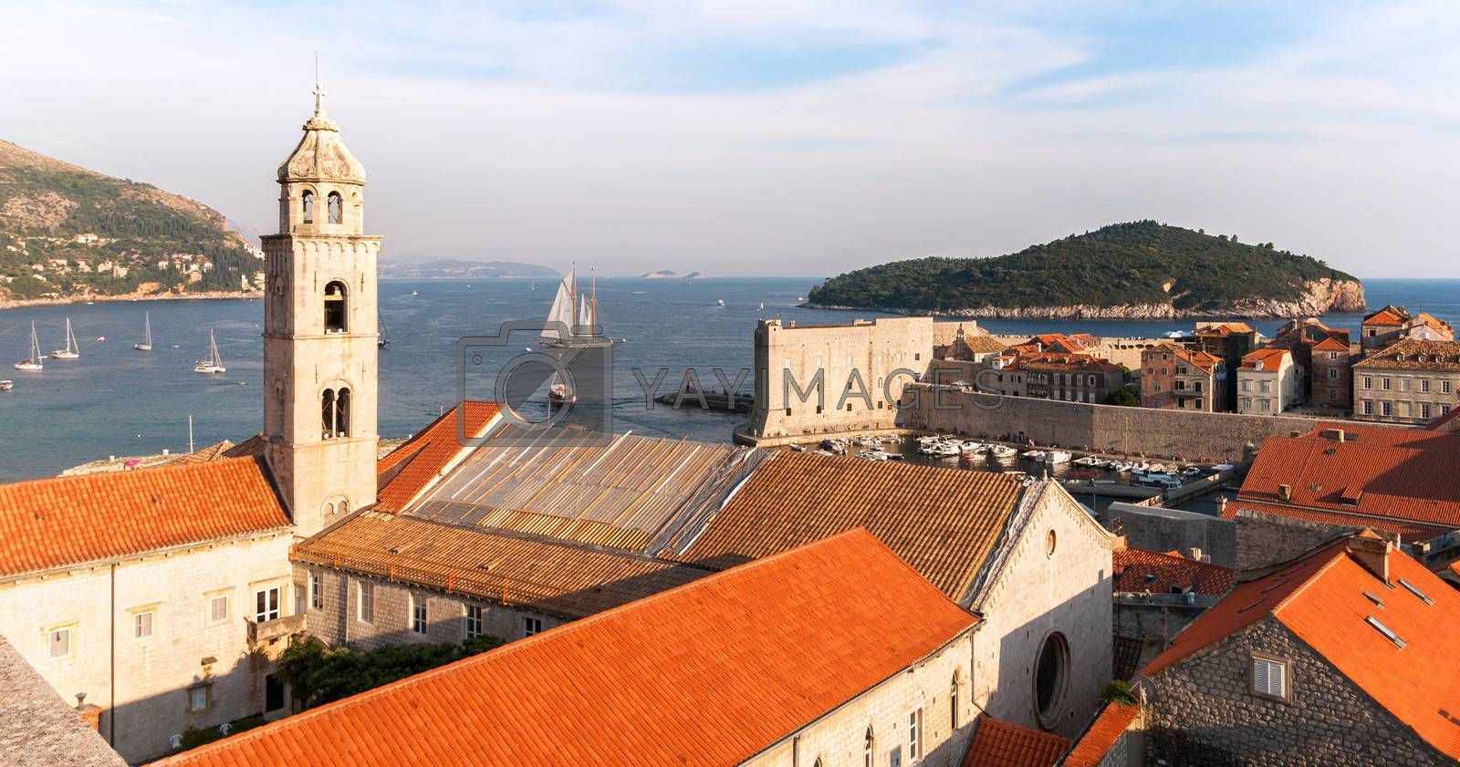 View from city walls in Dubrovnik, Croatia.