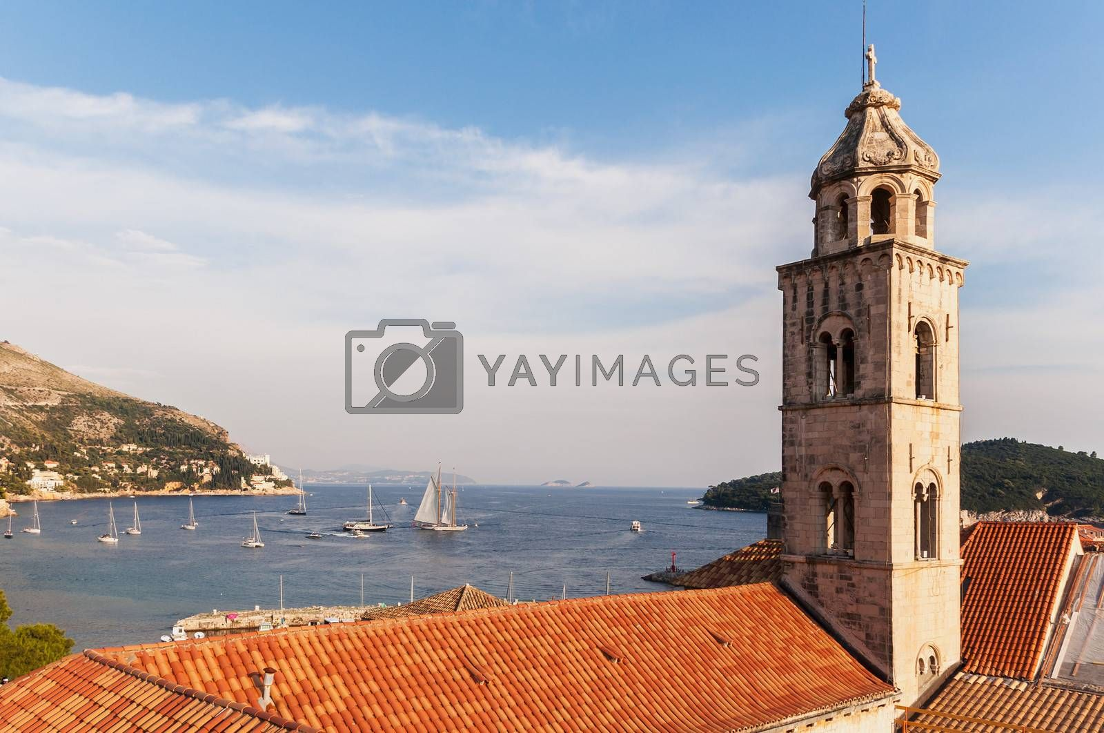 View on church tower from city walls, Dubrovnik, Croatia.