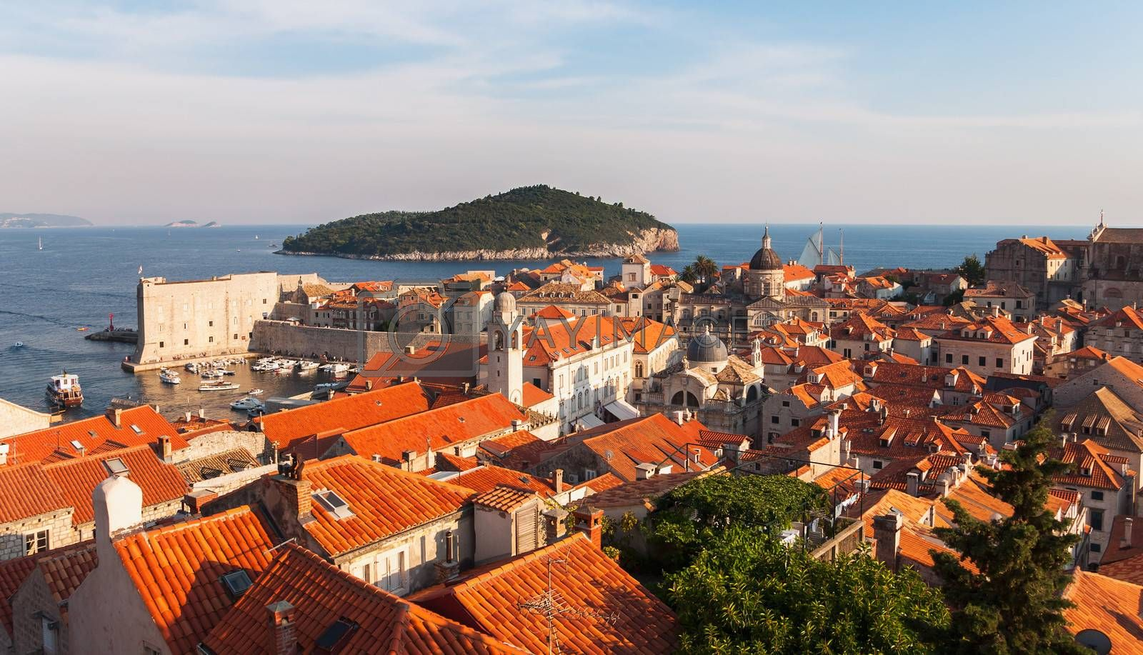Aerial view on the olnd town pier from the City Walls, Dubrovnik, Croatia.