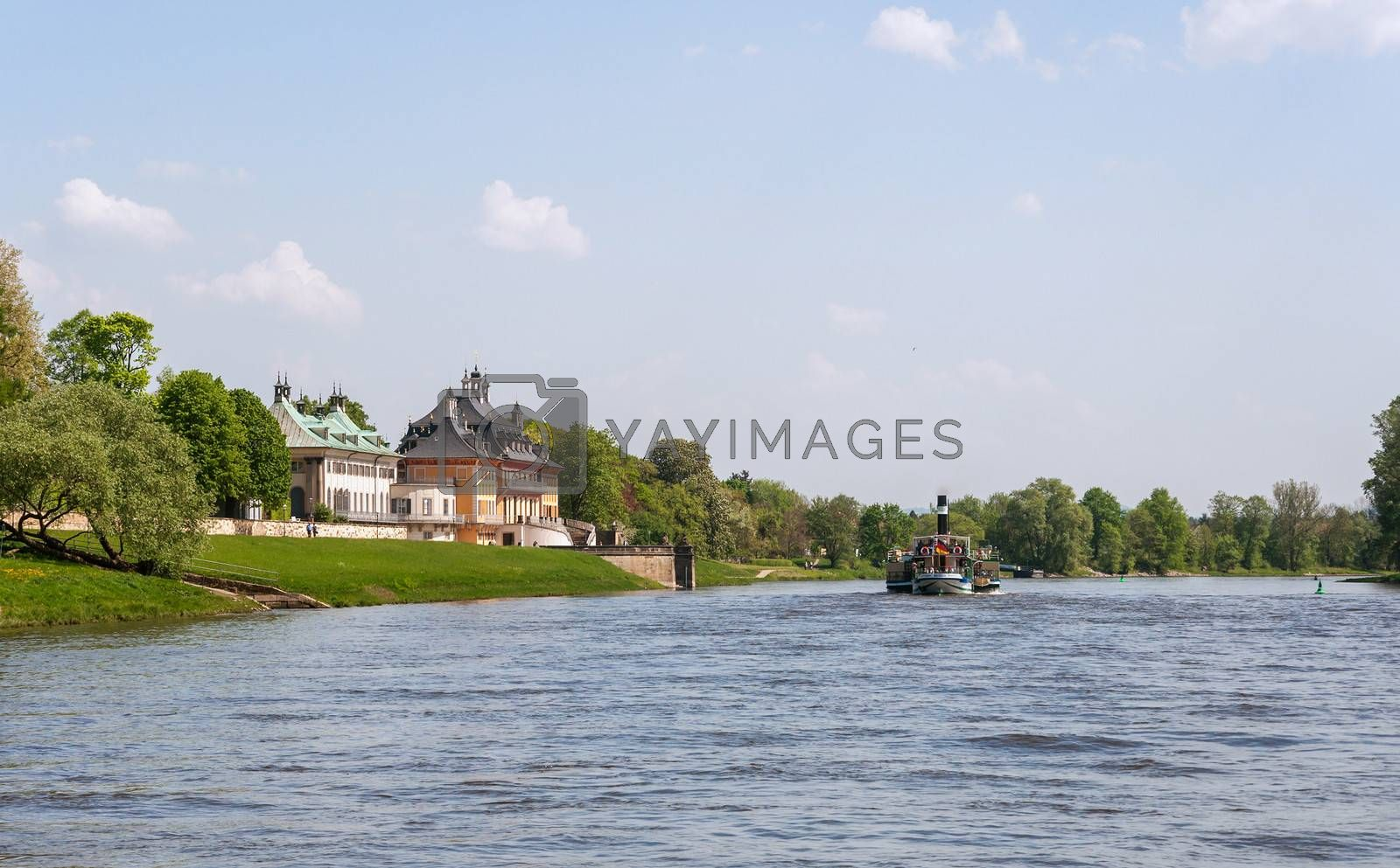 Elbe river and Riverside Palace of The Pillnitz Castle.
