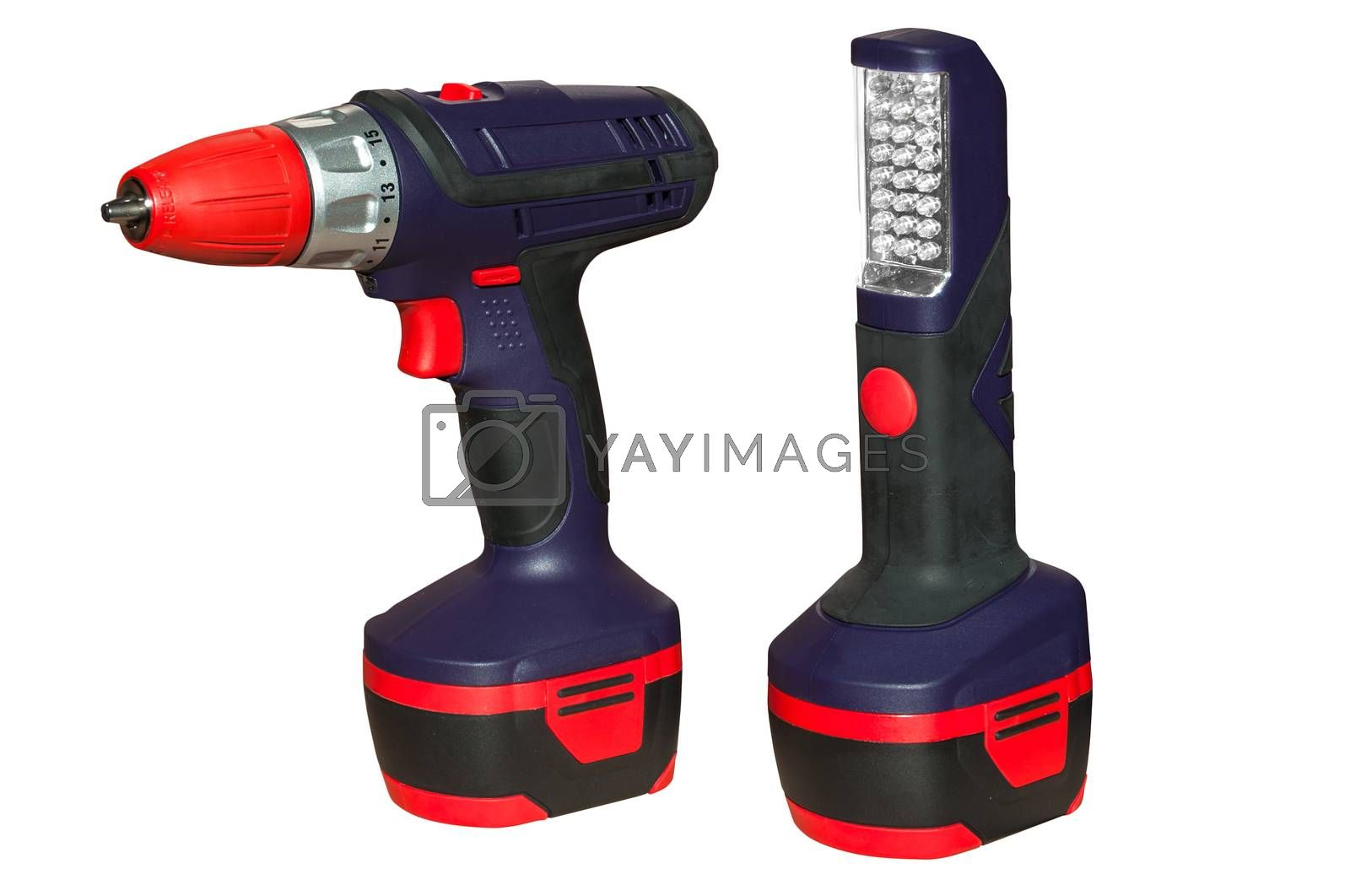 Battery driller with flashlight isolated over white background.