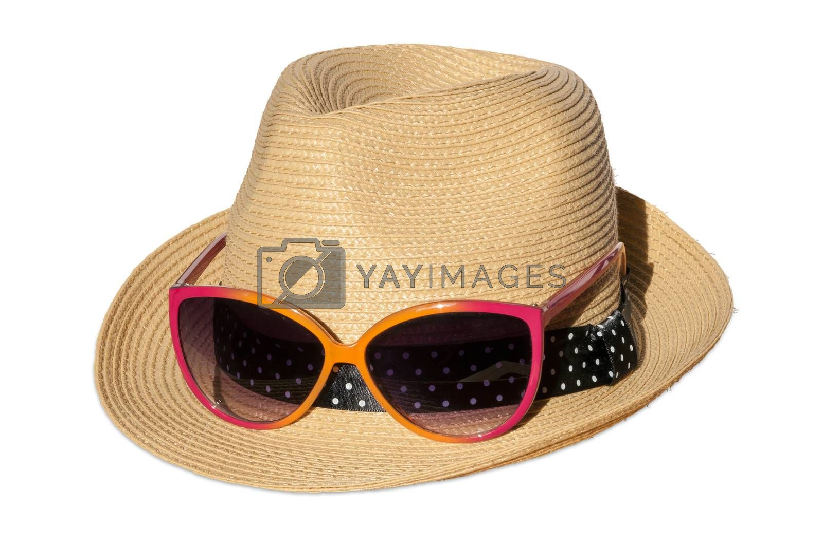 Hat with pink suglasses isolated over white background.