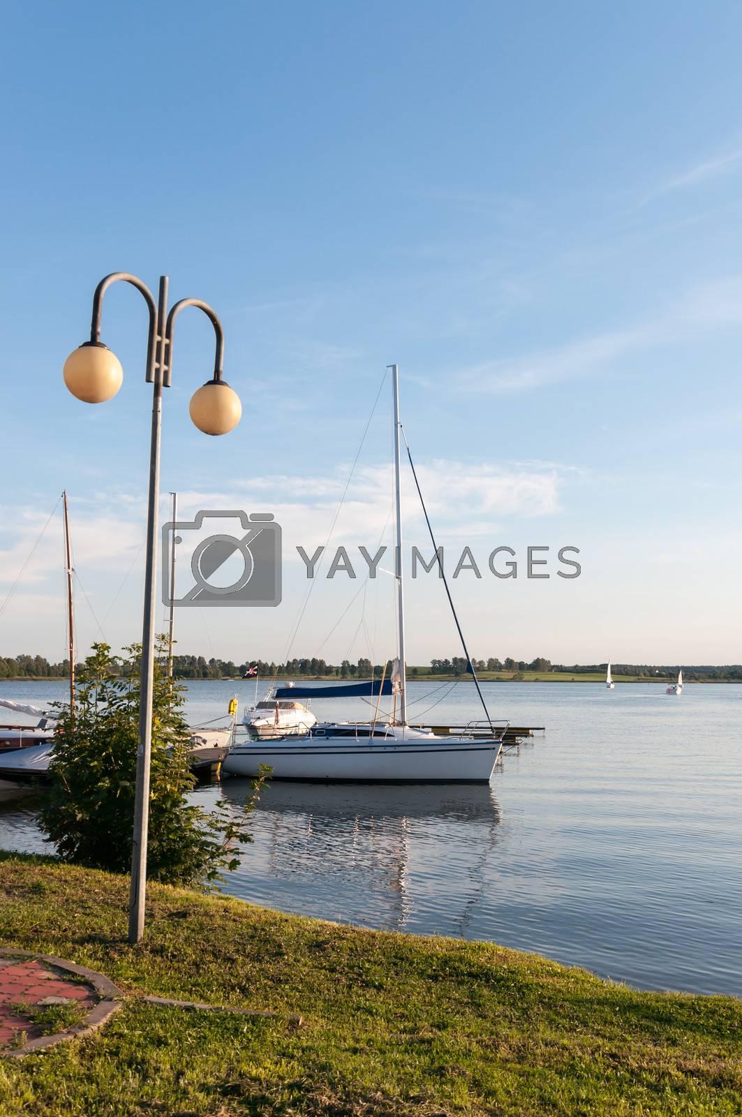 Boat on the lake in Ryn, Masurian Lake District, Poland