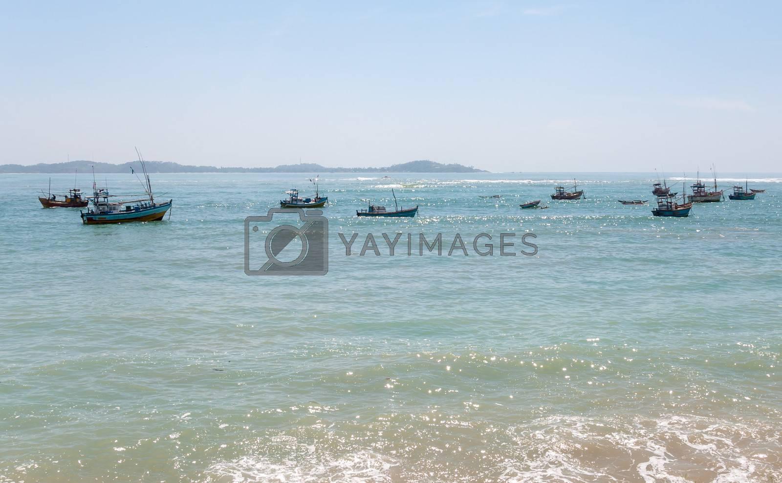 Fishboats on Indian Ocean, southern coast of Sri Lanka.
