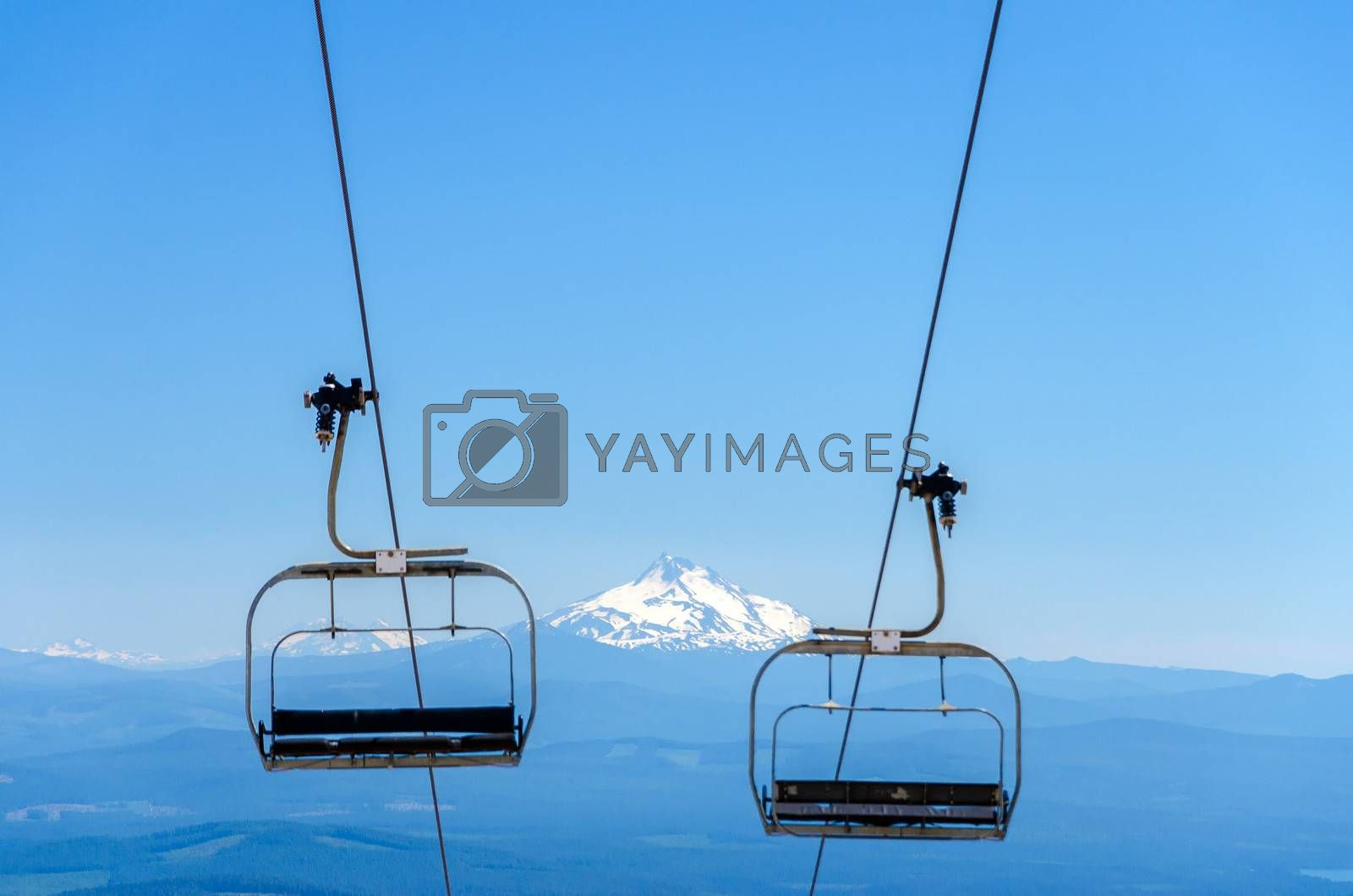 Chairlift with Mount Jefferson in the background