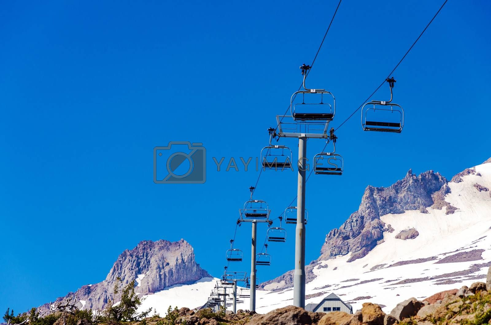 Looking up at a chairlift on Mount Hood