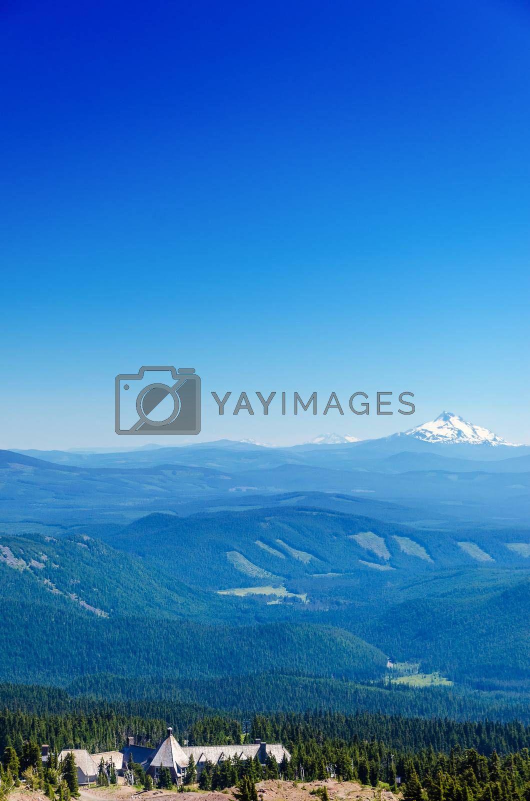 View of Mount Jefferson with Timberline Lodge at the bottom of the frame