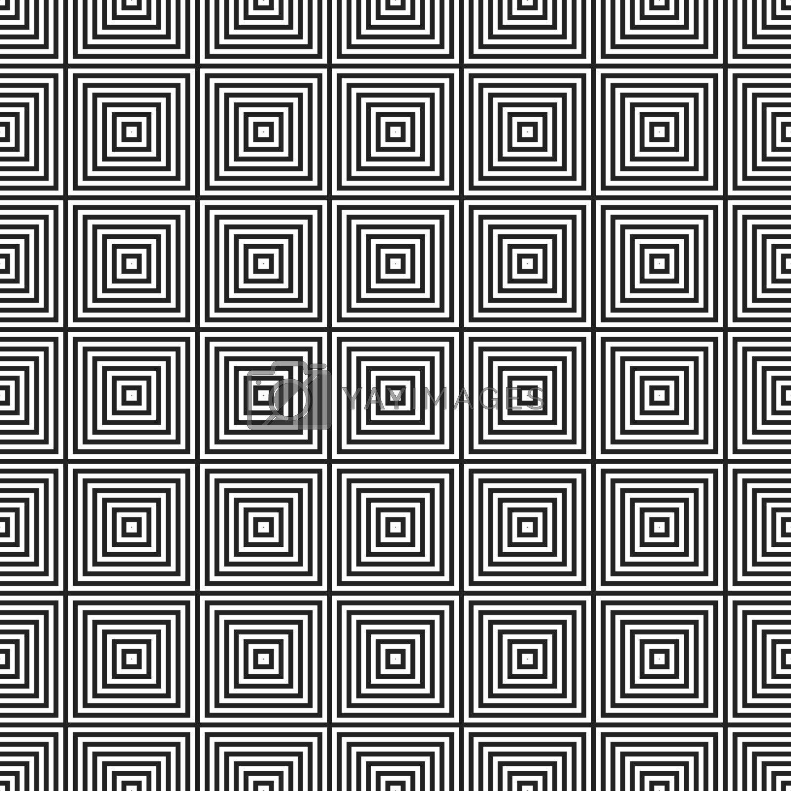 Black and white decorative asian seamless square pattern