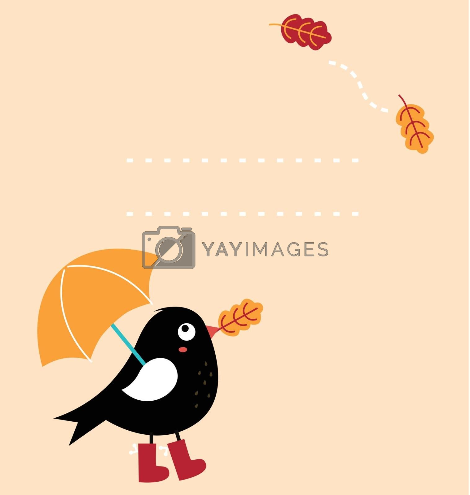 Royalty free image of Cute autumn greeting Card with cartoon Bird ( vector ) by Lordalea