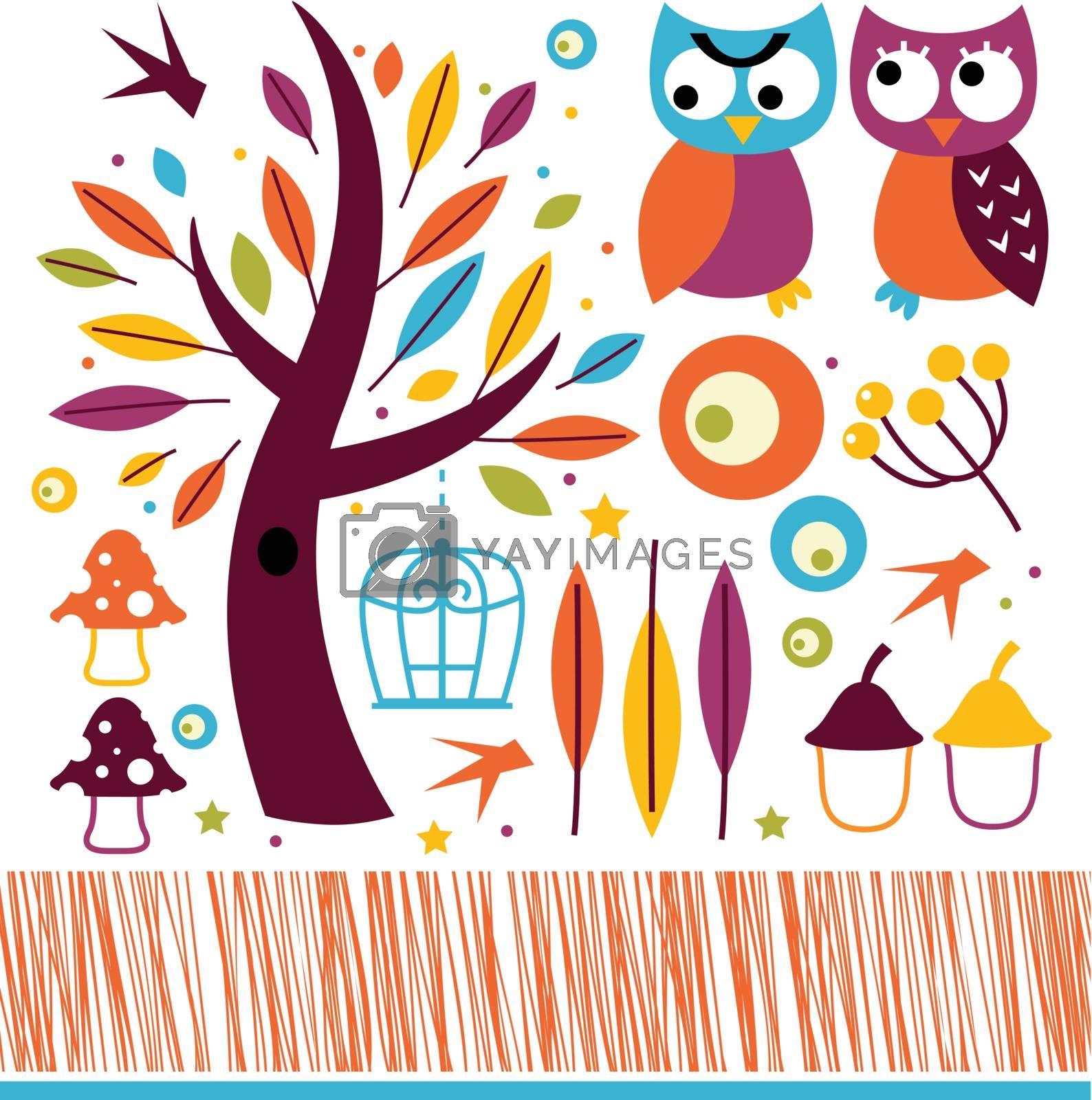 Retro autumn owls and design elements. Vector