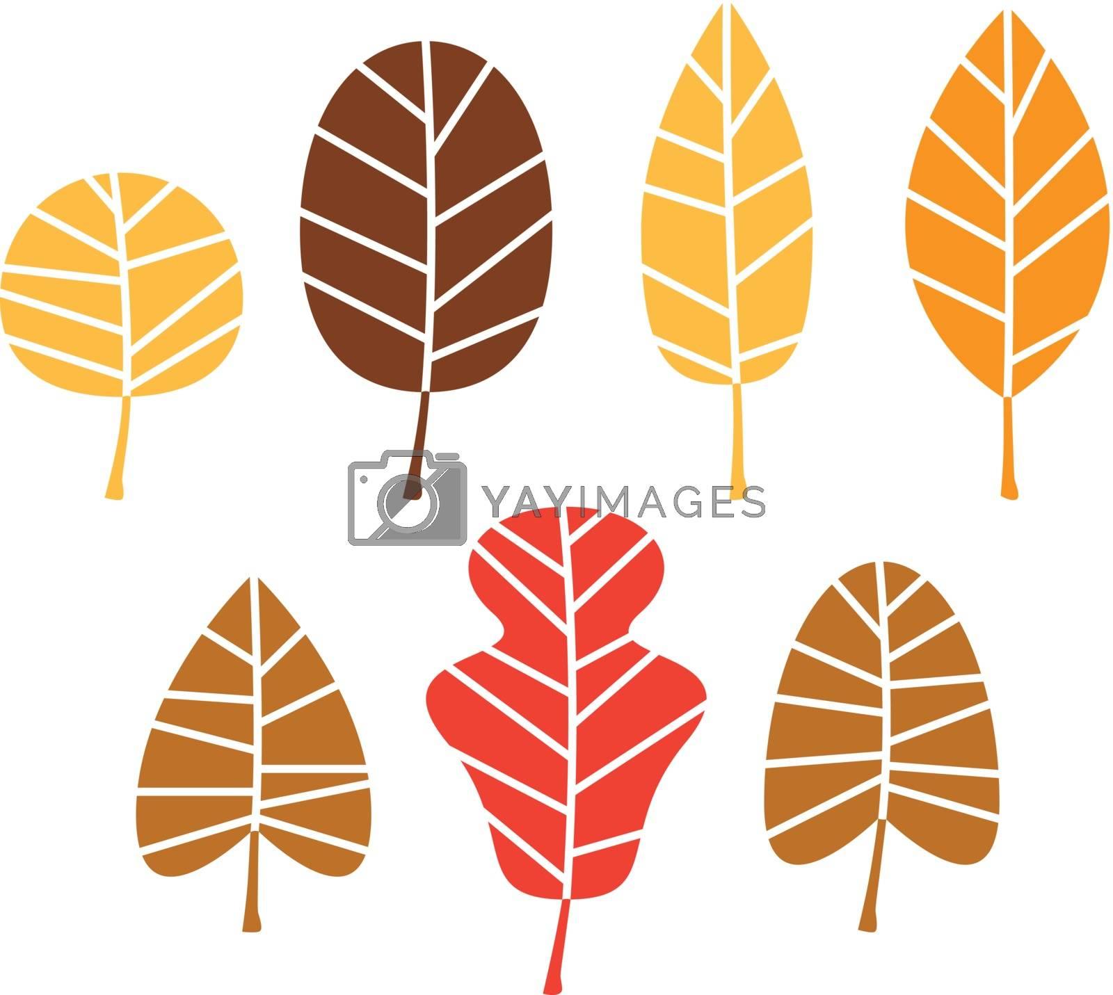 Stylized autumn leaves mix. Vector Illustration