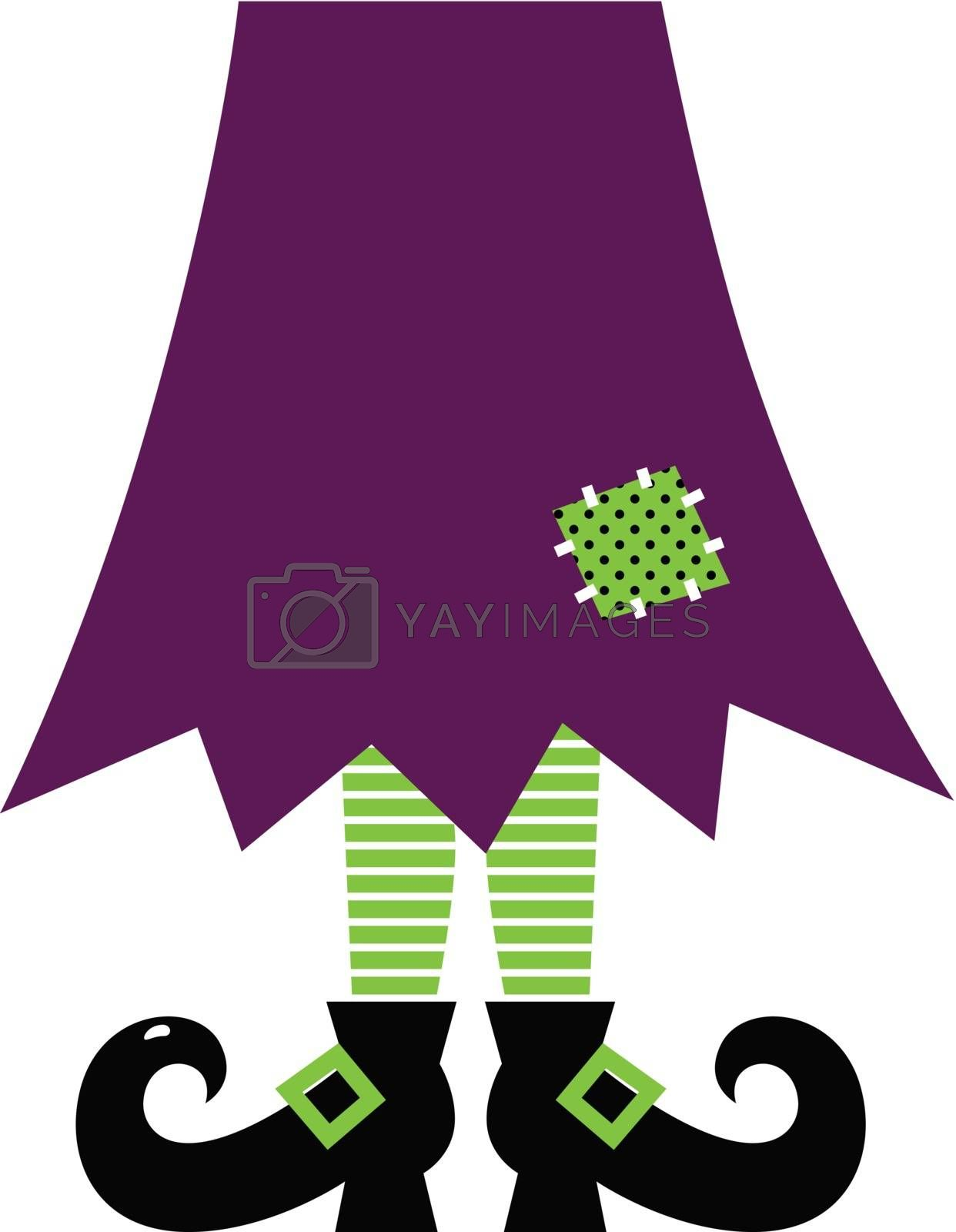 Royalty free image of Retro Halloween witch legs isolated on white ( green and purple ) by Lordalea