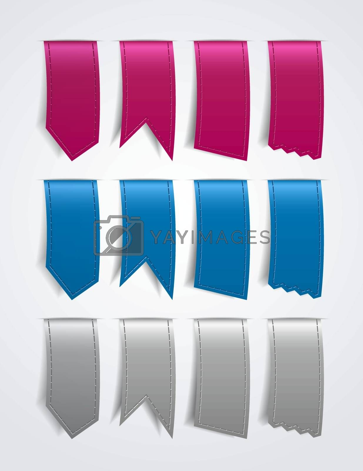 Different shaped ribbons in three colors