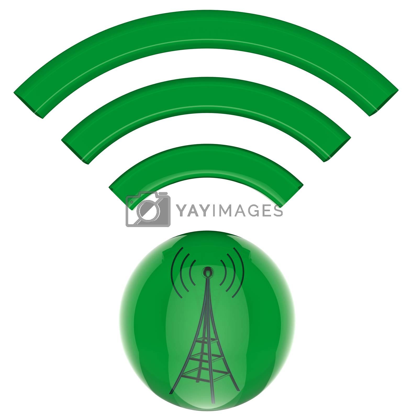 3D model, button. Digital transmitter sends information signals