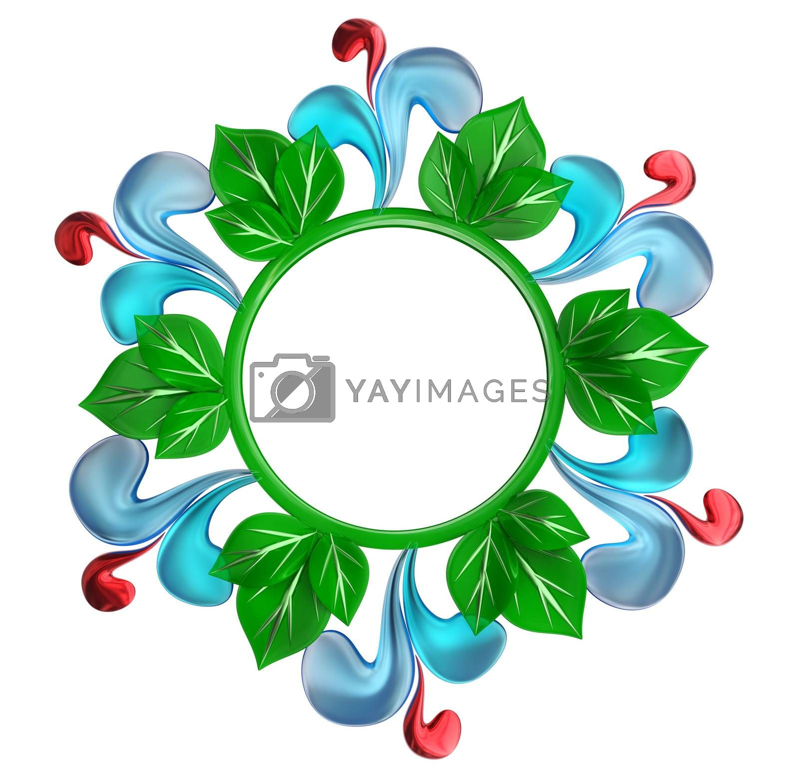 Green and blue round form with water drops and leafs