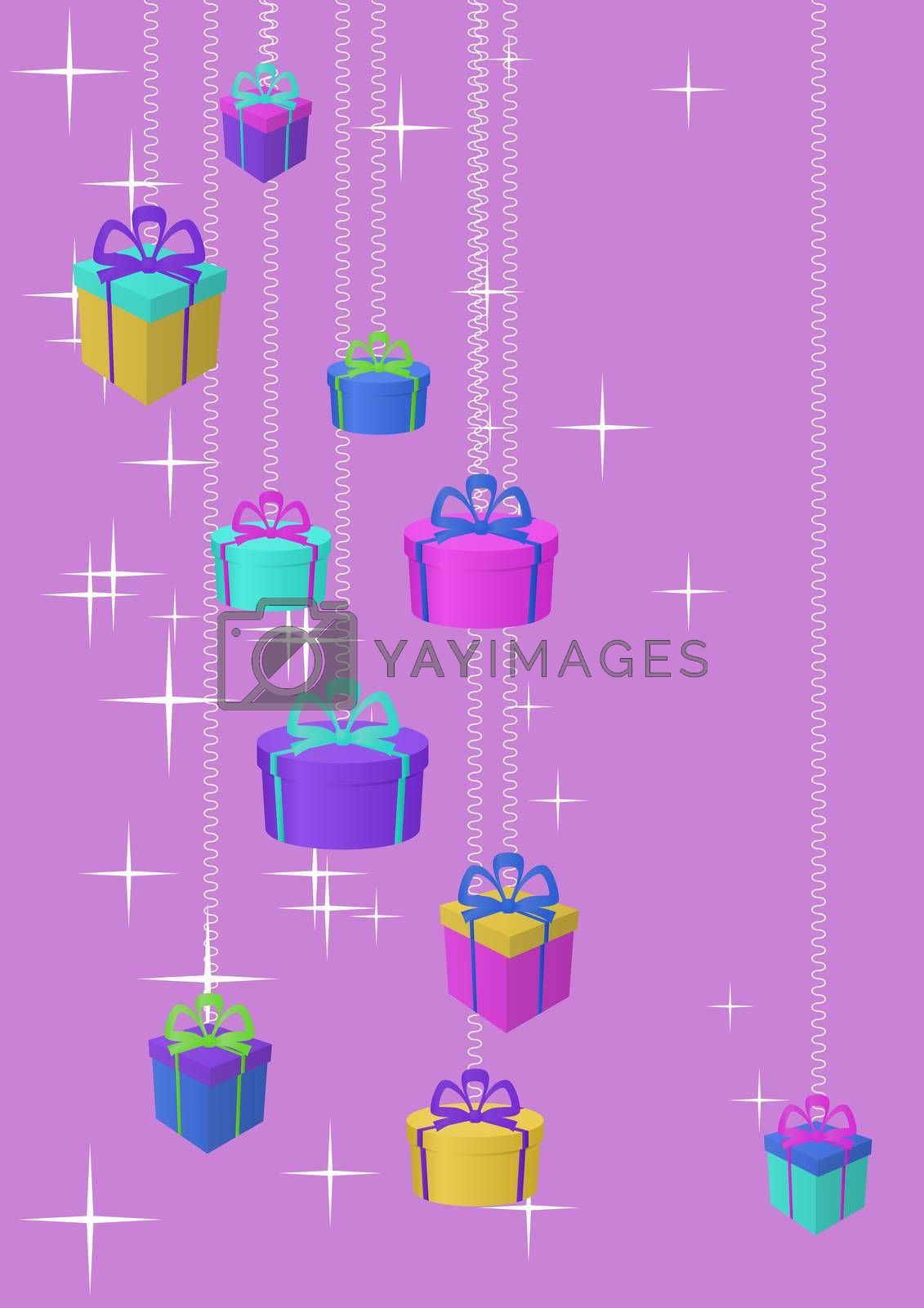 Celebratory picture: boxes with gifts on a colour background with stars