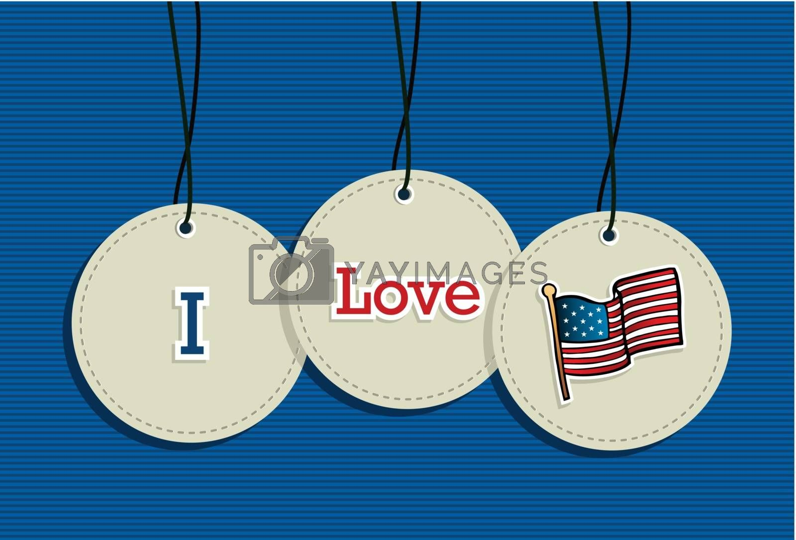 I love US hang tags icons flag illustration set. Vector file layered for easy manipulation and custom coloring.