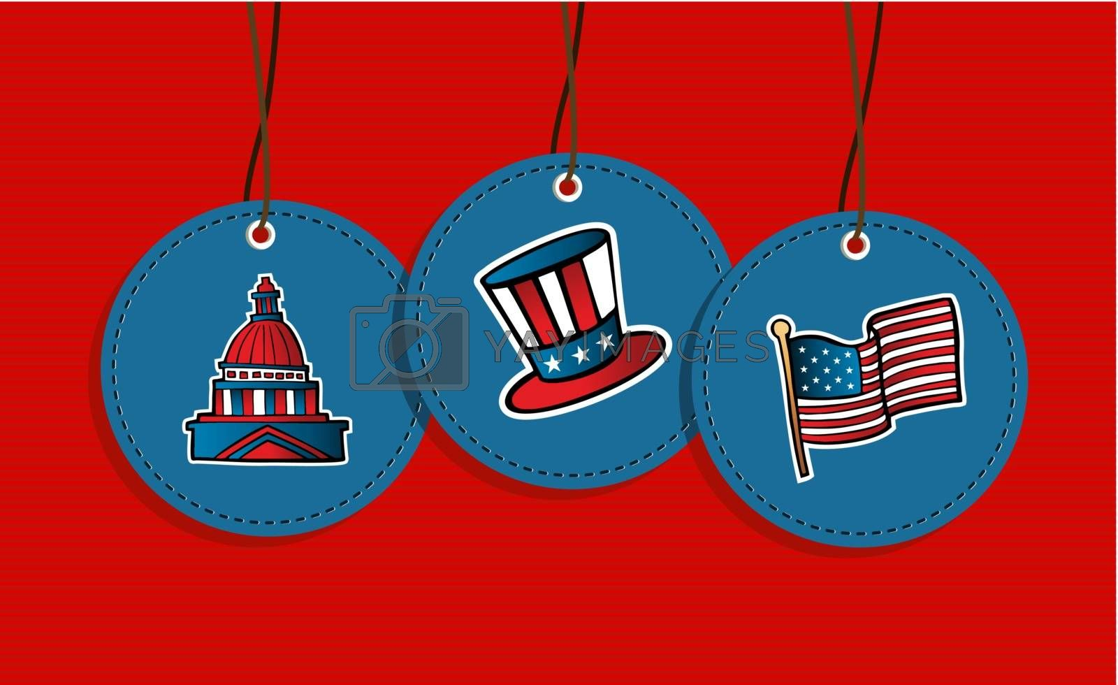 USA patriotic icons flag, congress, hat hang tags illustration set. Vector file layered for easy manipulation and custom coloring.