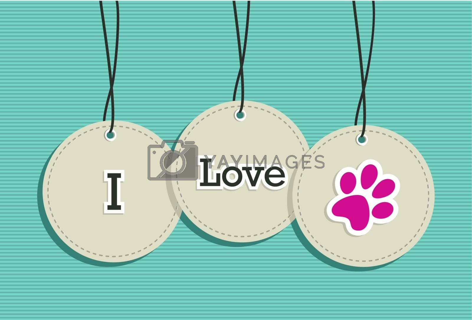 I love animals hang tags icons paw shape illustration set. Vector file layered for easy manipulation and custom coloring.