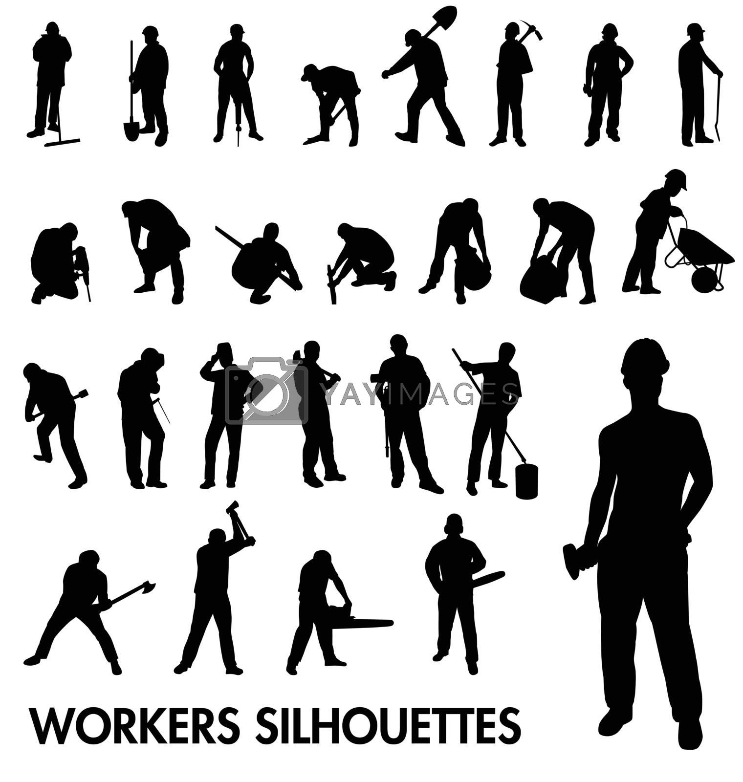 construction workers silhouettes set