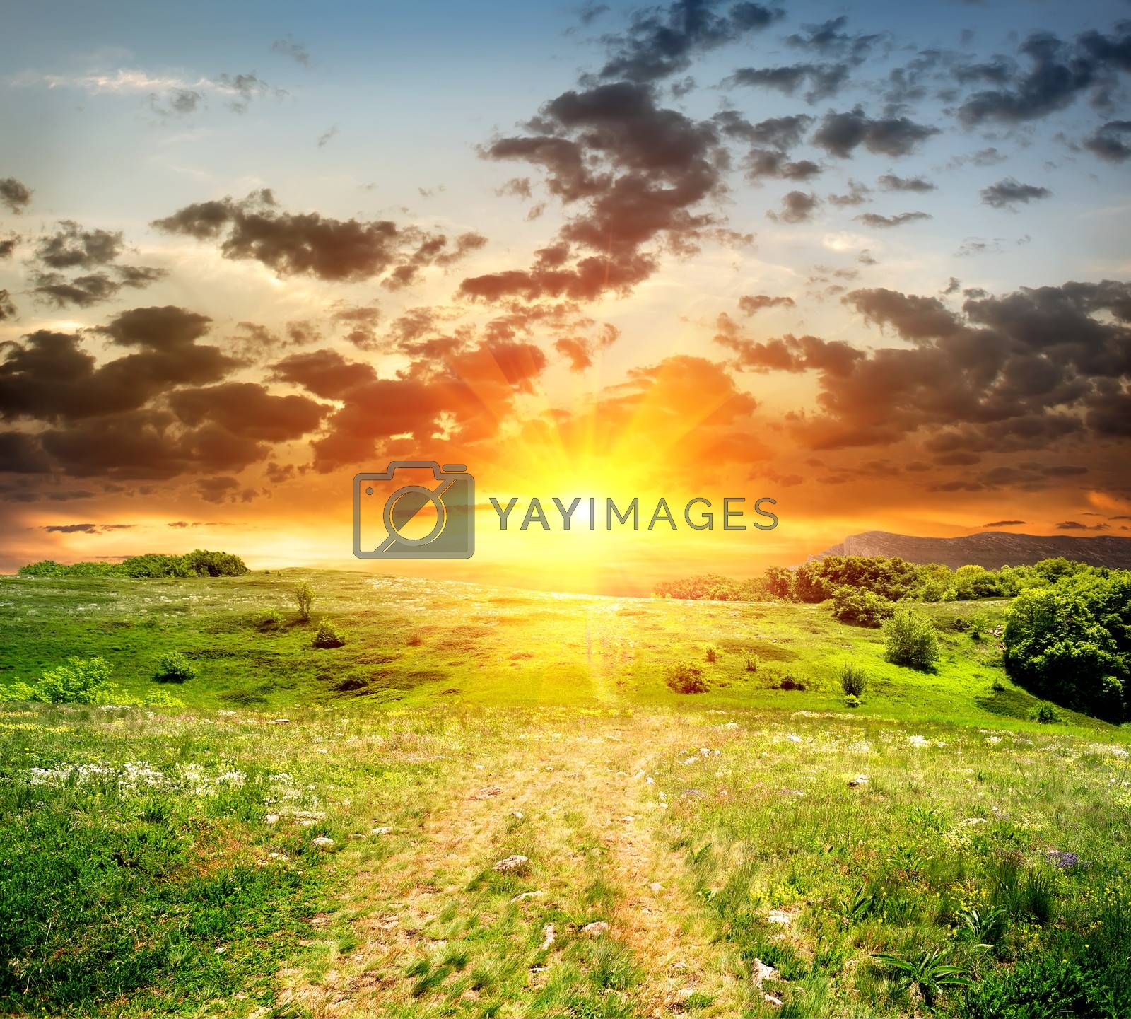 Footpath in the mountain plateau at the sunset