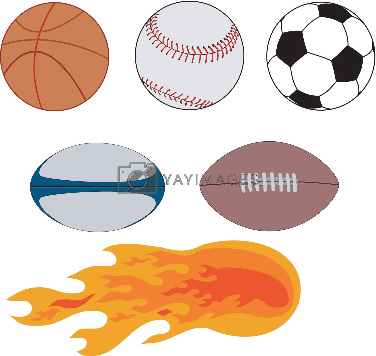 Illustration of various sports balls including a basketball, baseball, soccer ball, rugby ball, football, and ball of flame.