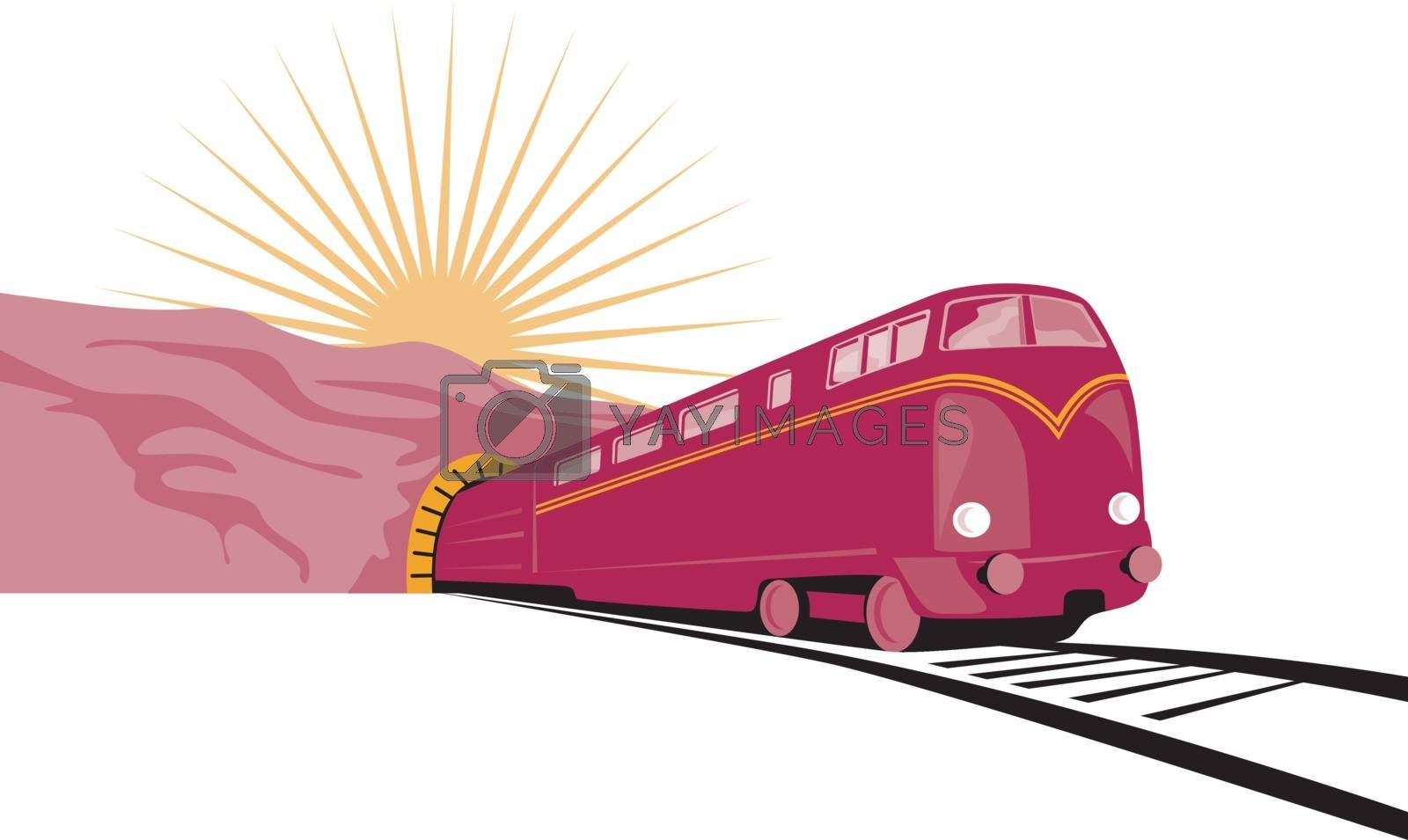 Illustration of a train coming out of a tunnel with sun in the background done in retro style.