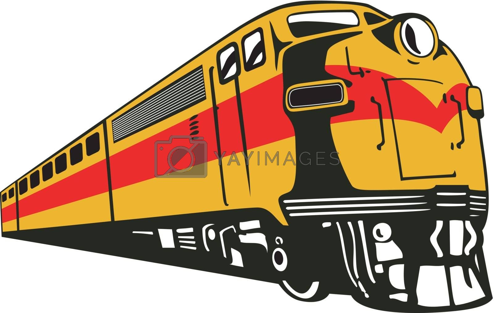 Illustration of a diesel train viewed from a low angle done in retro style on isolated white background.