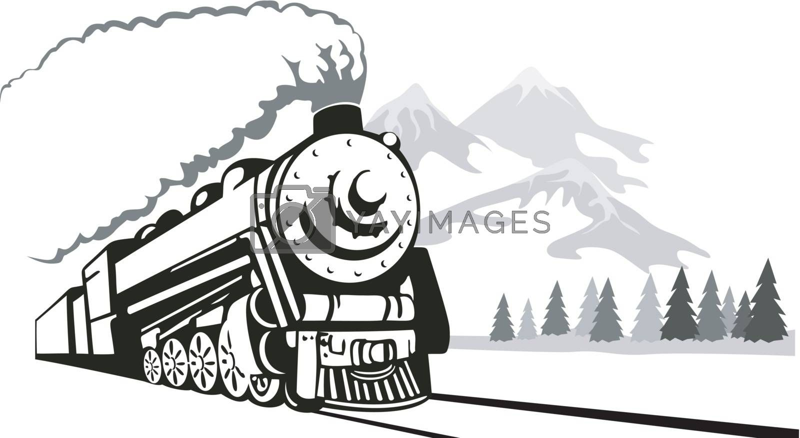 Illustration of a vintage train on isolated background done in retro style.