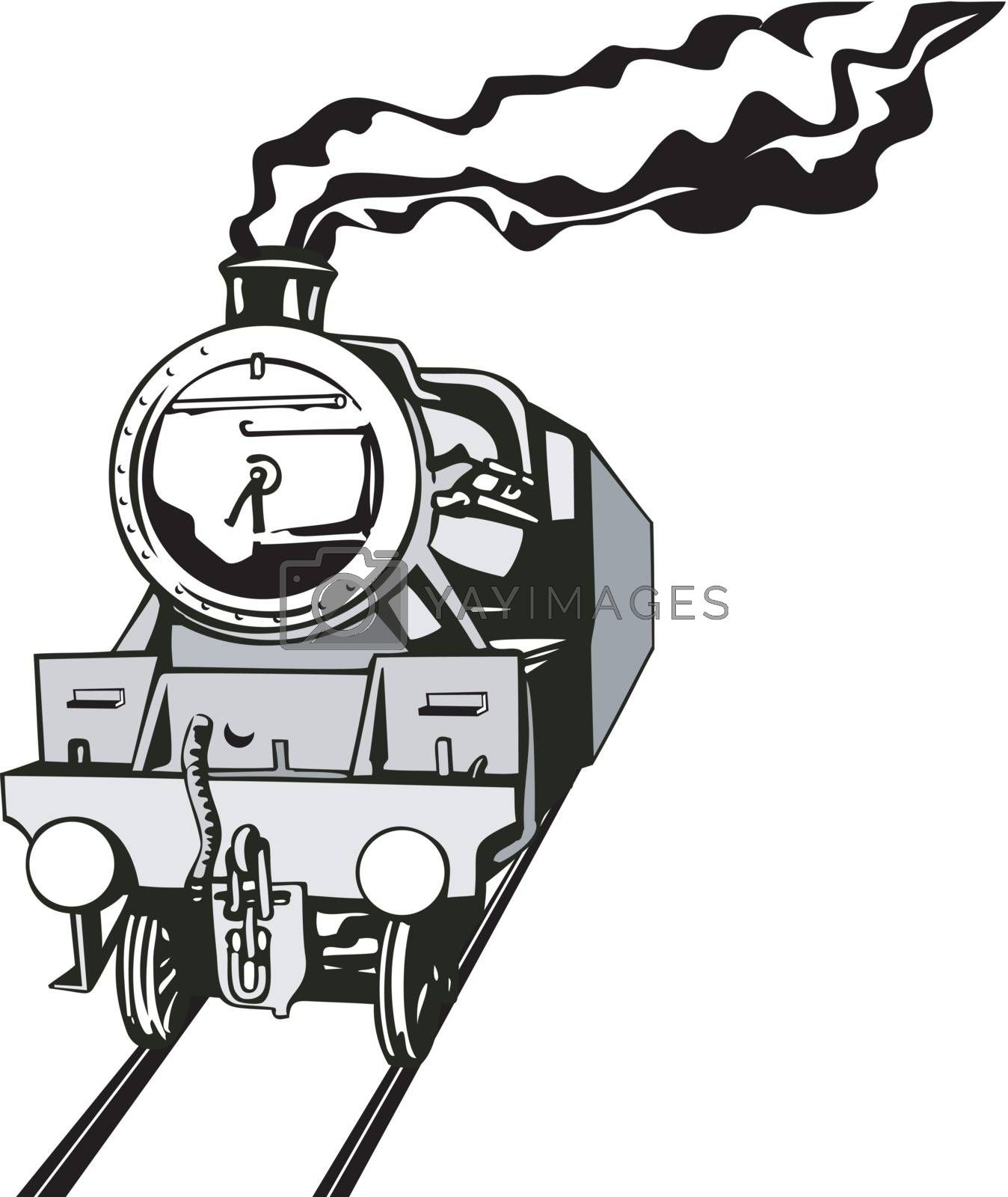 Illustration of a vintage train front view in black and white on isolated background done in retro style.