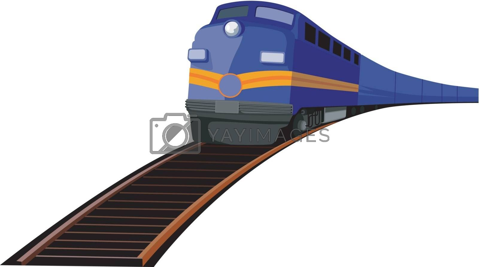Illustration of a train heading front isolated on white background done in retro style.