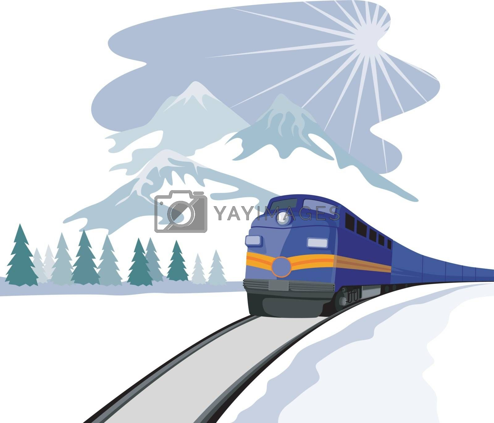 Illustration of a train heading front with sun and landscape in the background done in retro style.