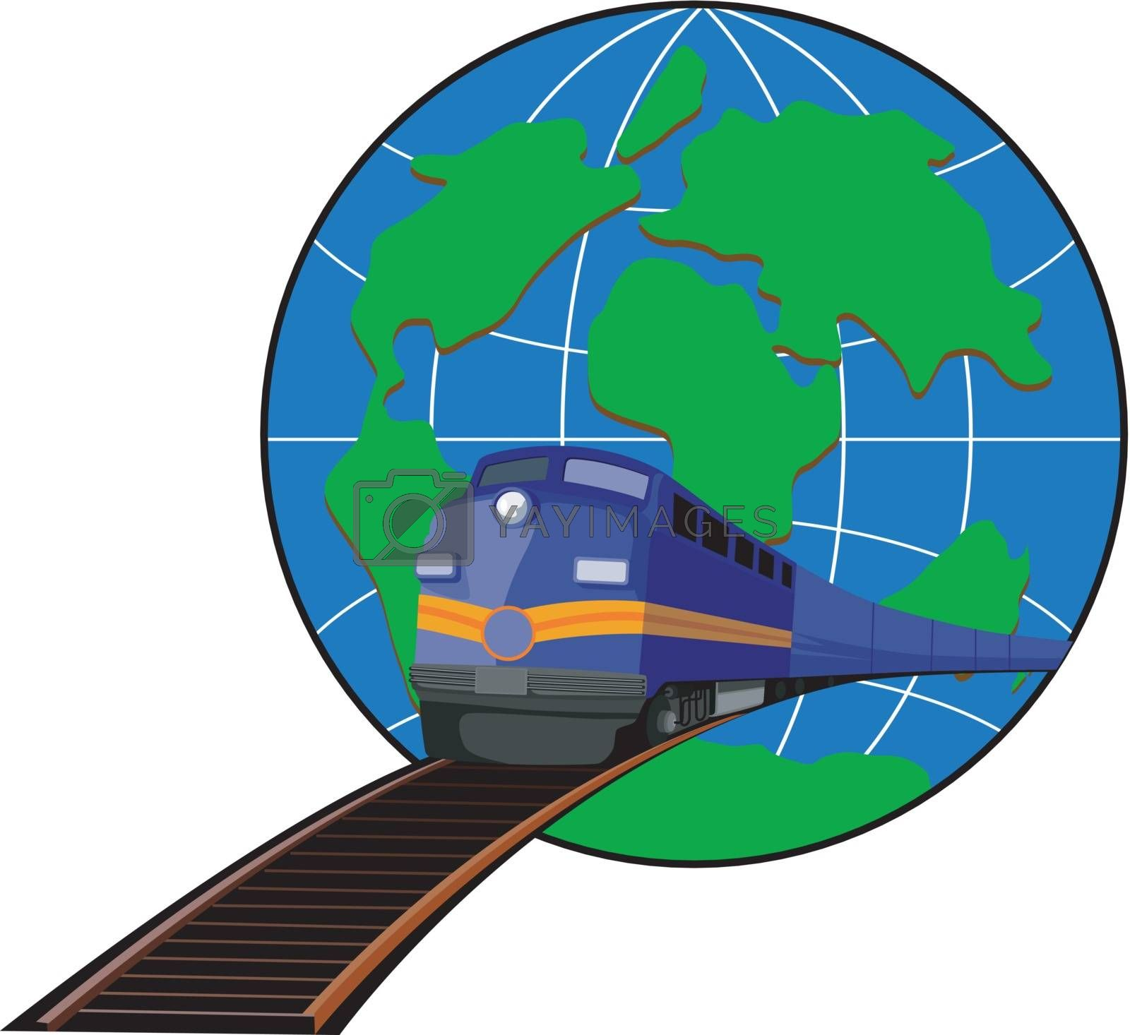 Illustration of a train heading front with globe in the background done in retro style.